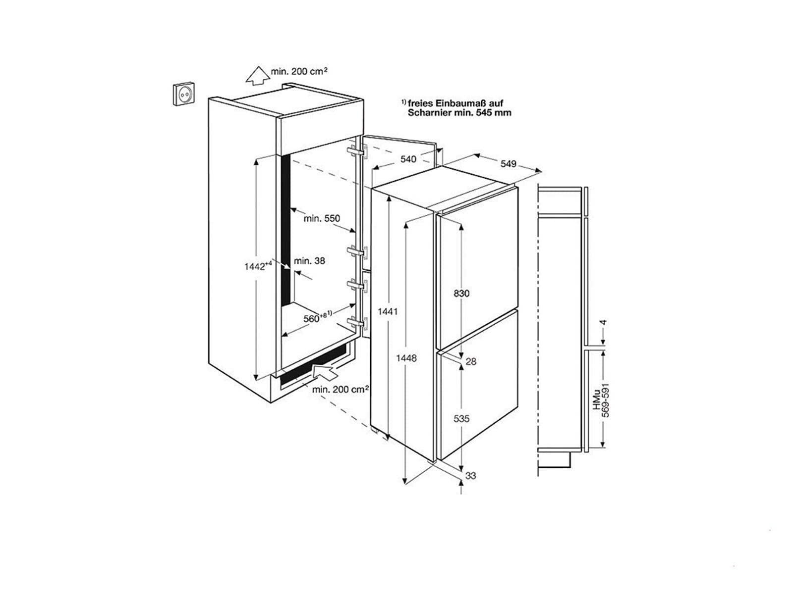 aeg scs51400s1 einbau k hl gefrier kombination k hlschrank gefrierteil 145cm a ebay. Black Bedroom Furniture Sets. Home Design Ideas