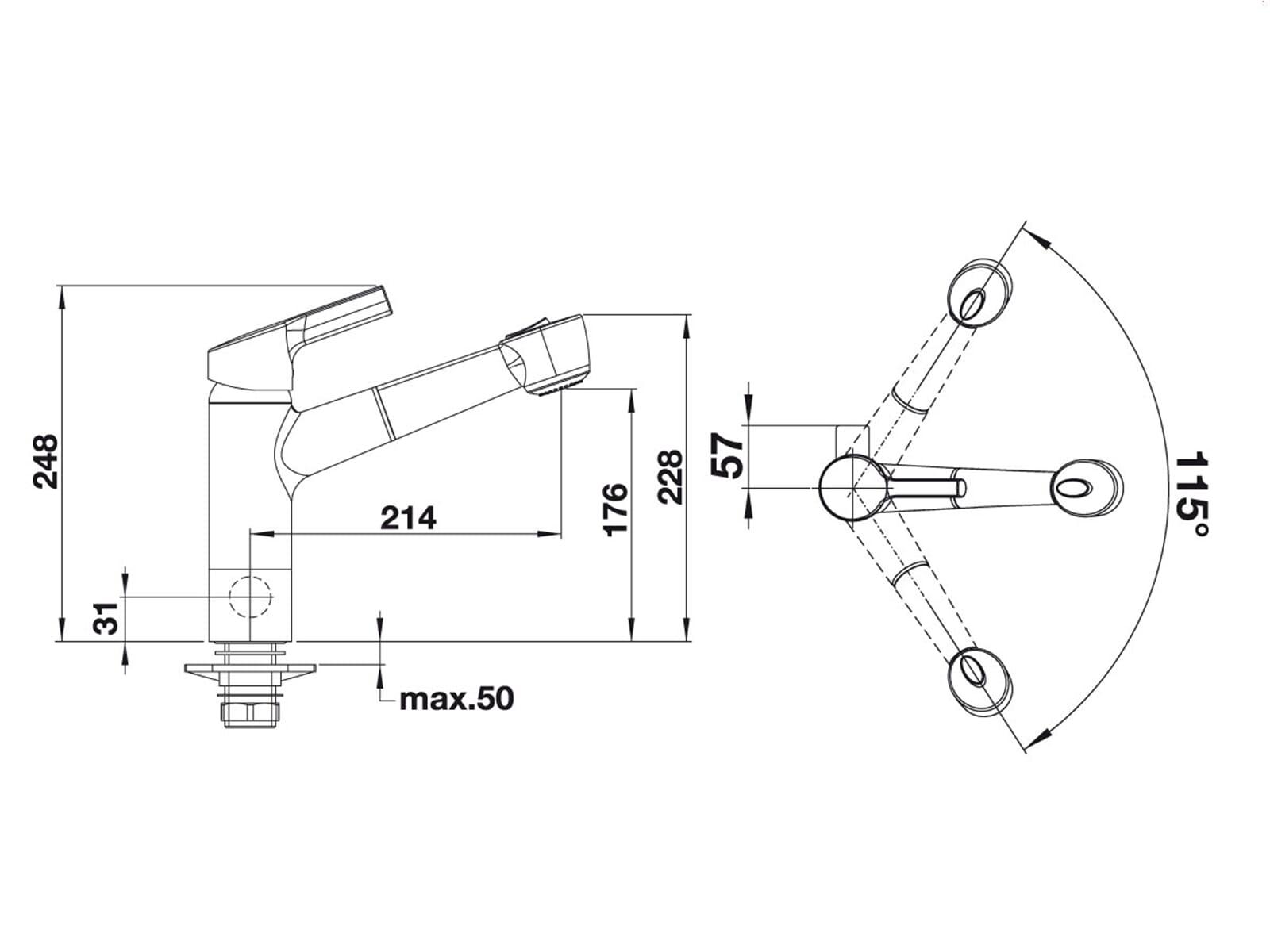 blanco elipso s a ii chrom hochdruck einhebel armatur wasserhahn mischbatterie ebay. Black Bedroom Furniture Sets. Home Design Ideas