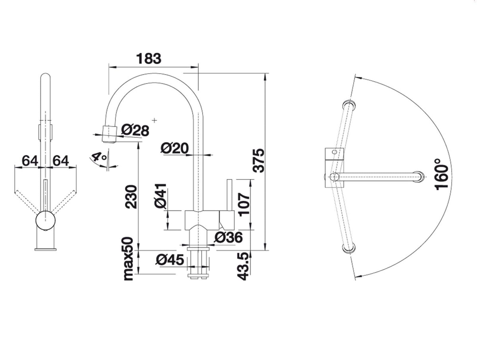 blanco filos edelstahl k chenarmatur hochdruck wasserhahn. Black Bedroom Furniture Sets. Home Design Ideas