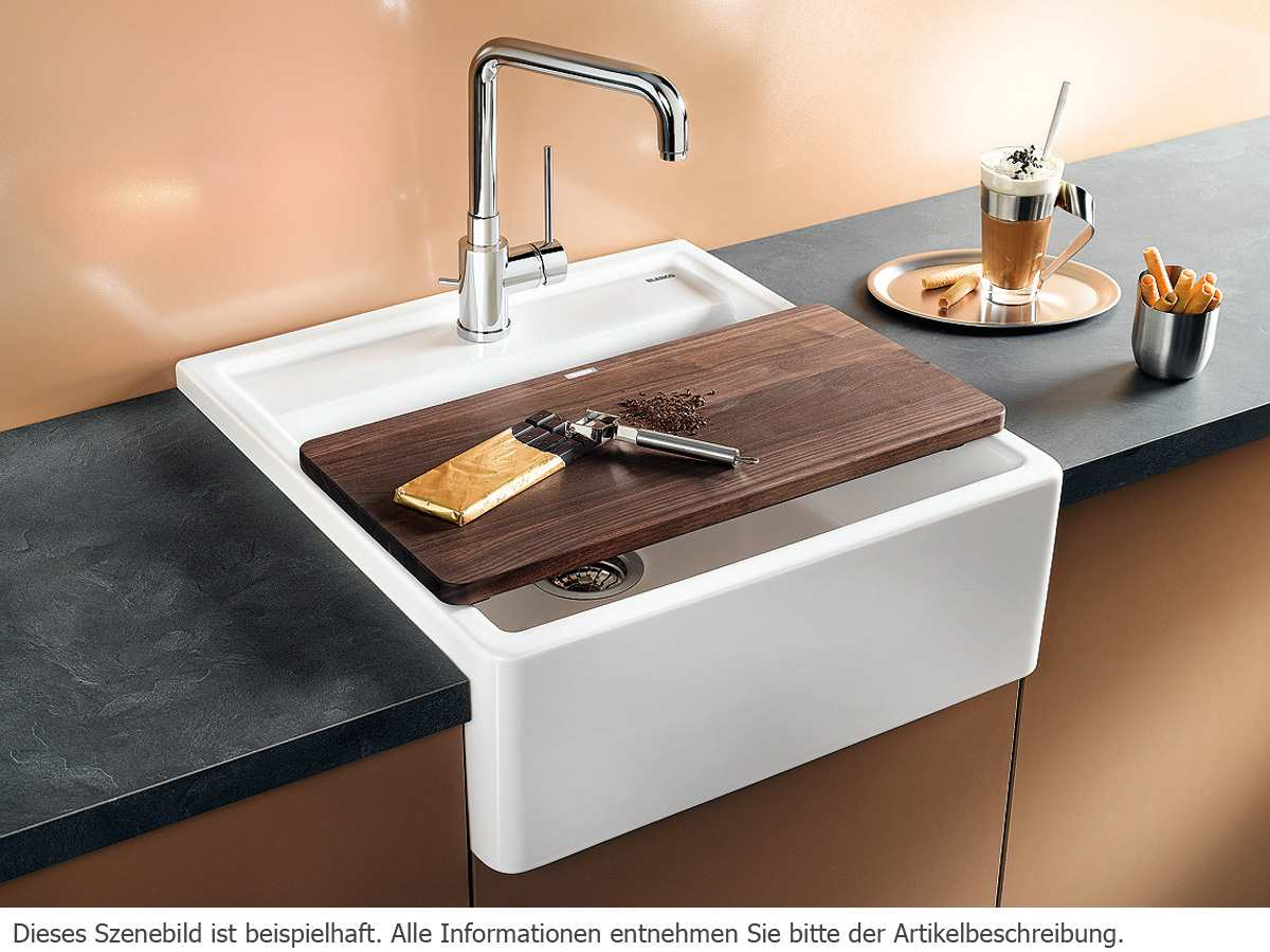 blanco panor 60 kristallwei gl nzend keramik sp le f r. Black Bedroom Furniture Sets. Home Design Ideas