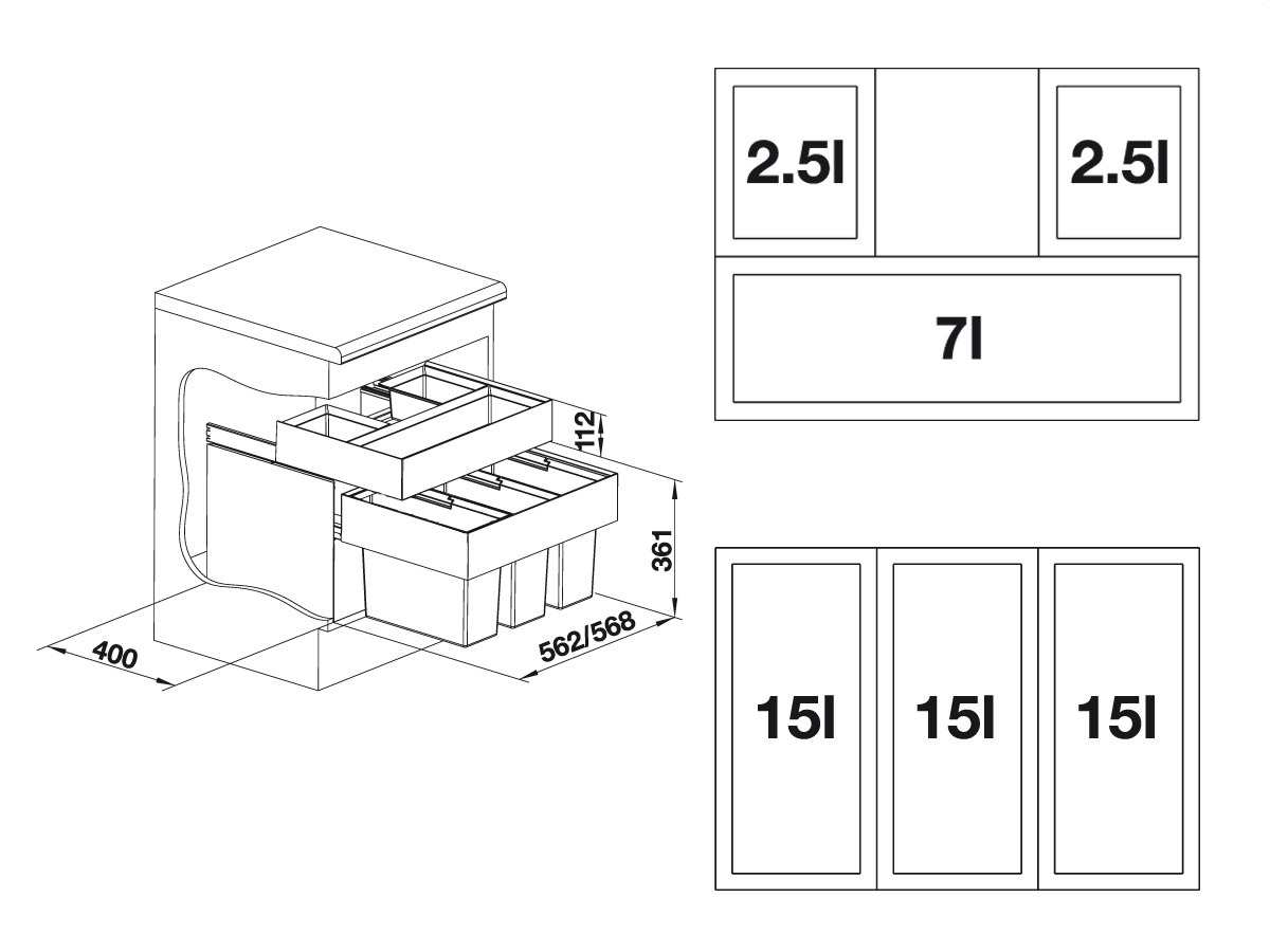 blanco select 60 3 orga einbau abfallsammler kunststoffeimer schublade m lleimer ebay. Black Bedroom Furniture Sets. Home Design Ideas