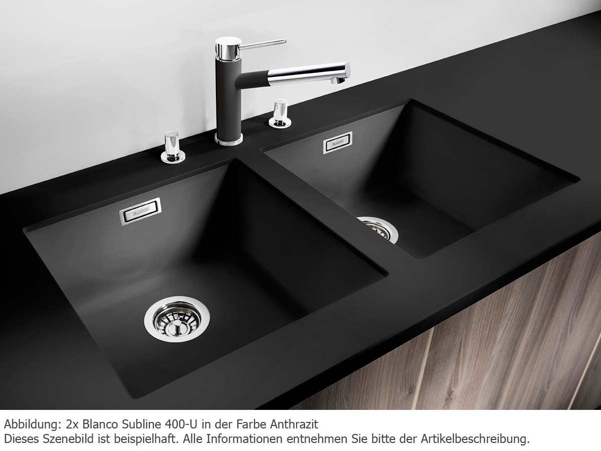 blanco subline 400 u anthrazit granit sp le 50er us schwarz unterbau ebay. Black Bedroom Furniture Sets. Home Design Ideas