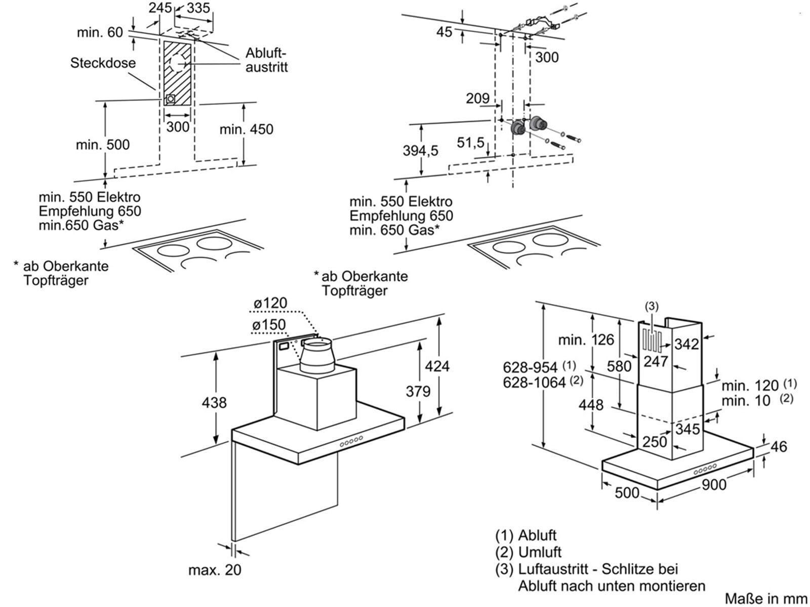 Bosch dwb09w652 wand dunstabzugshaube edelstahl f r 324 90 - Wand dunstabzugshauben ...