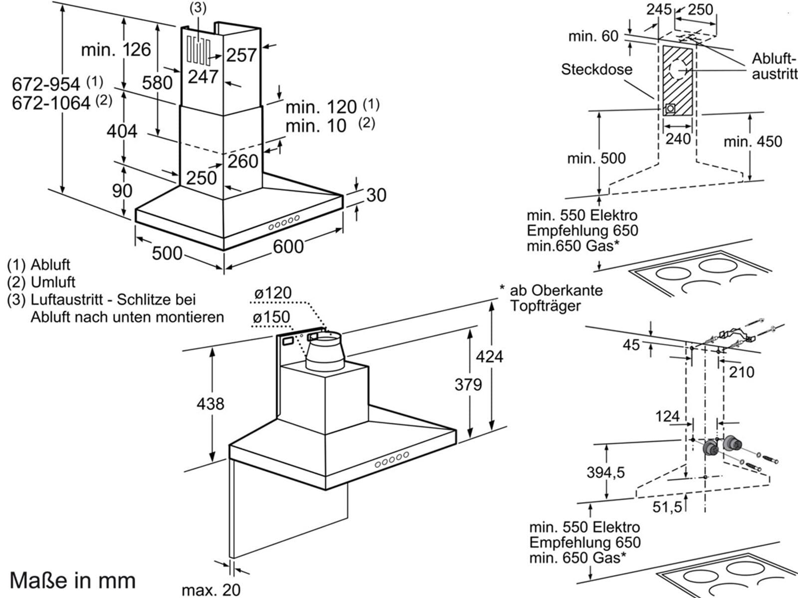 bosch dww067a50 wand dunstabzugshaube edelstahl led haube. Black Bedroom Furniture Sets. Home Design Ideas