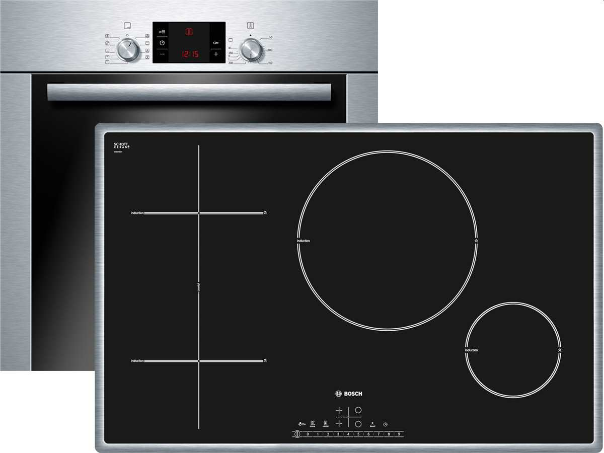 bosch backofen set ofen hba33b250 induktion kochfeld pit845f17e 80 cm einbau ebay. Black Bedroom Furniture Sets. Home Design Ideas