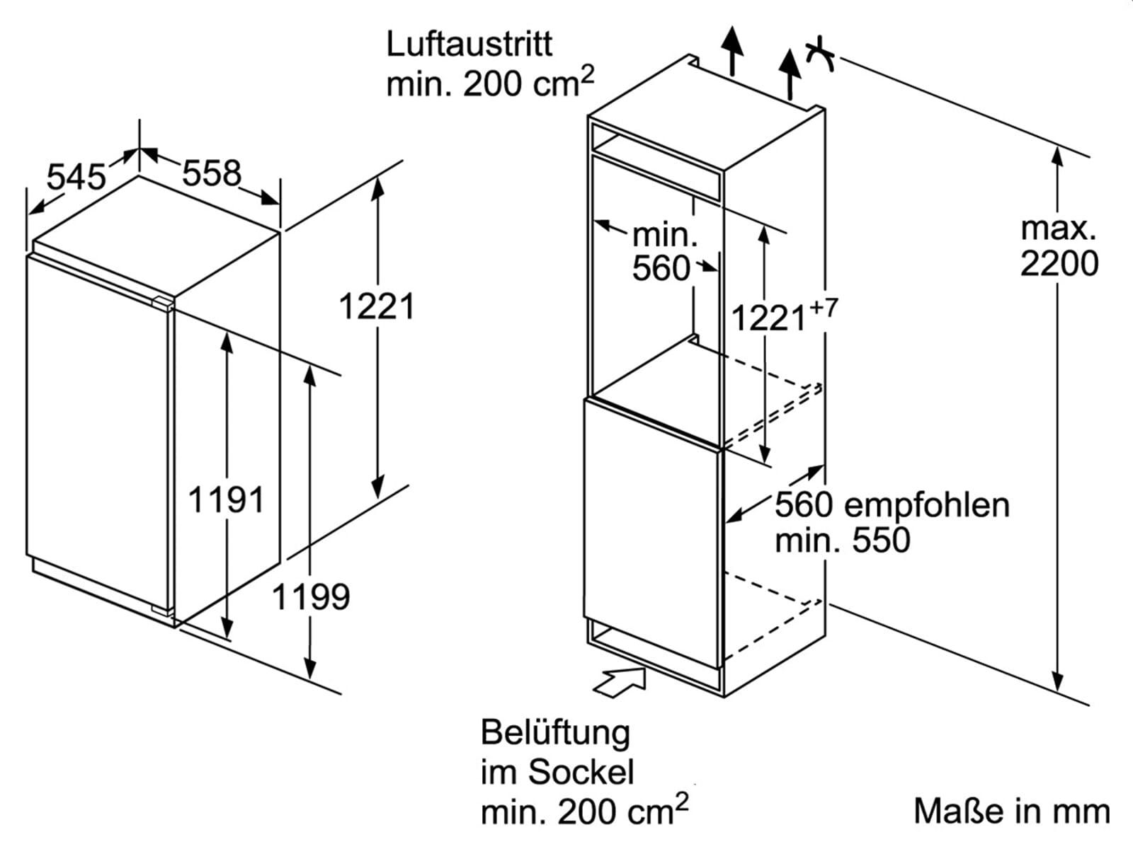 bosch kif41af30 einbauk hlschrank 122 5 cm k hlschrank flachscharnier ebay. Black Bedroom Furniture Sets. Home Design Ideas