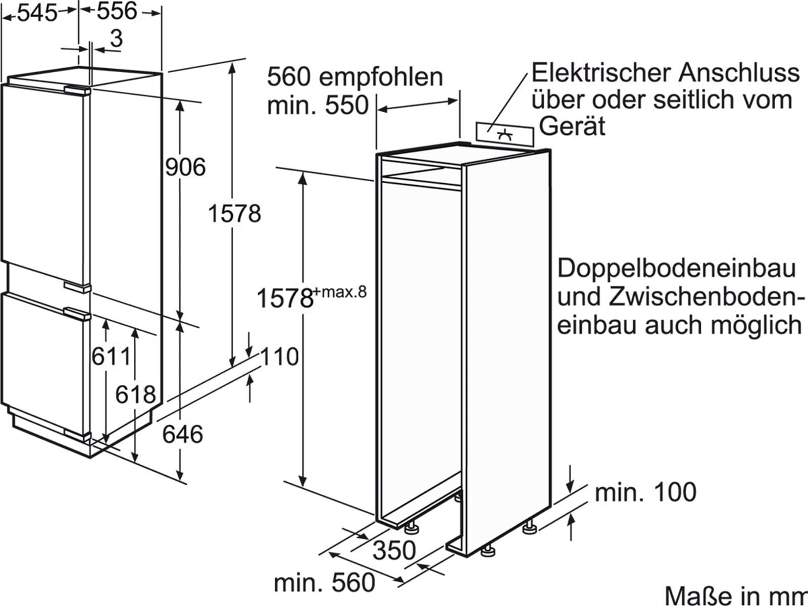 bosch kin28p60 einbau k hl gefrier kombination frostteil 158 cm k hlschrank ebay. Black Bedroom Furniture Sets. Home Design Ideas