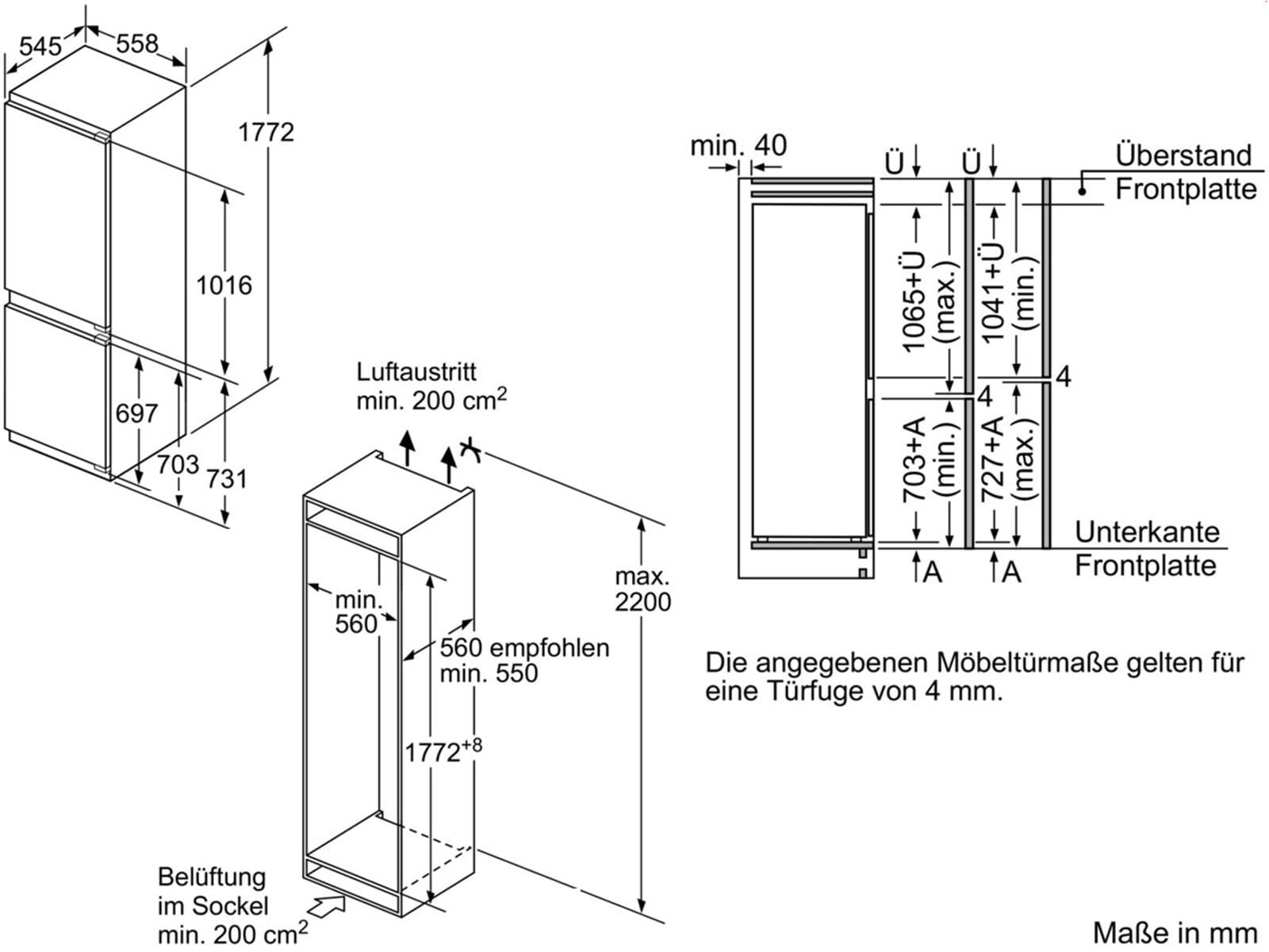 bosch kin86ad30 einbau k hl gefrier kombi 178 cm. Black Bedroom Furniture Sets. Home Design Ideas