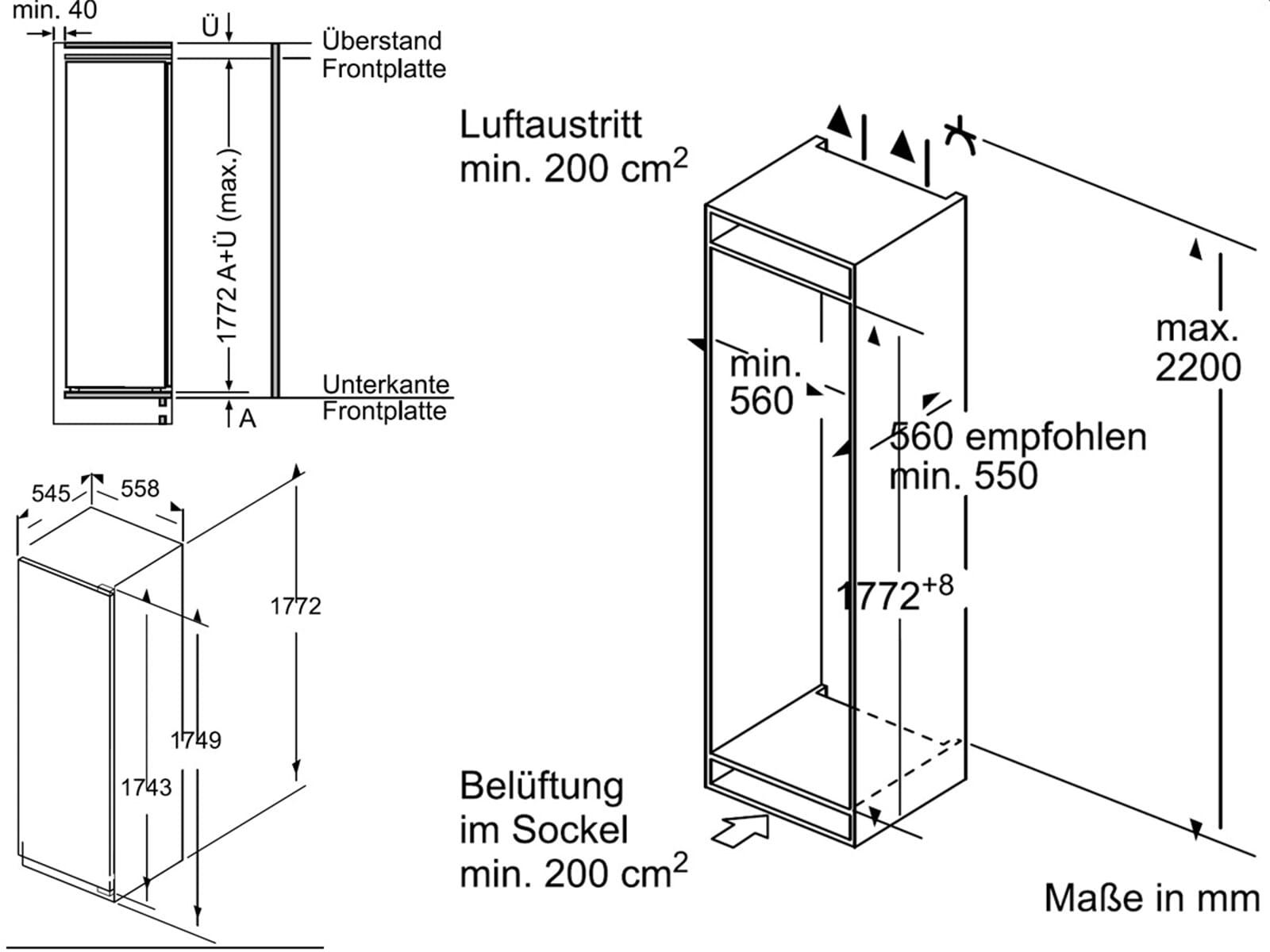 bosch kir81af30 einbau 178 cm nische flachscharnier a. Black Bedroom Furniture Sets. Home Design Ideas