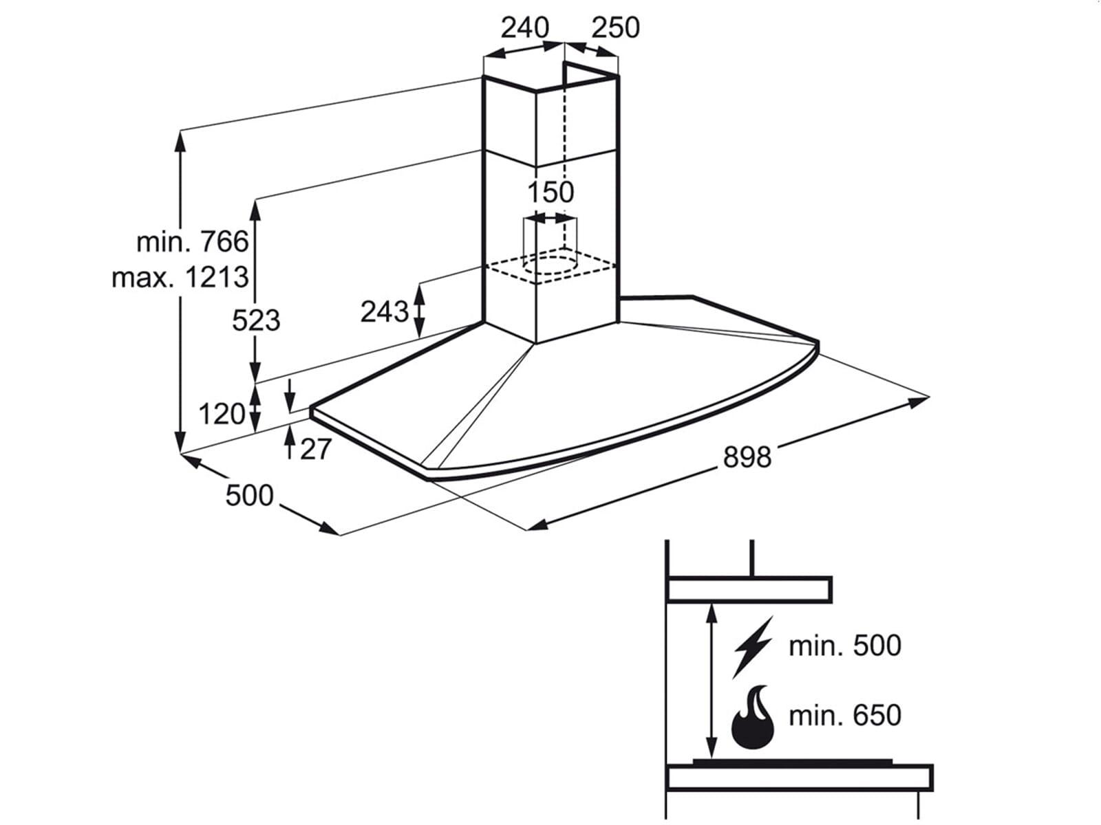 aeg electrolux efc90400x wand dunstabzugshaube edelstahl 90cm ebay. Black Bedroom Furniture Sets. Home Design Ideas