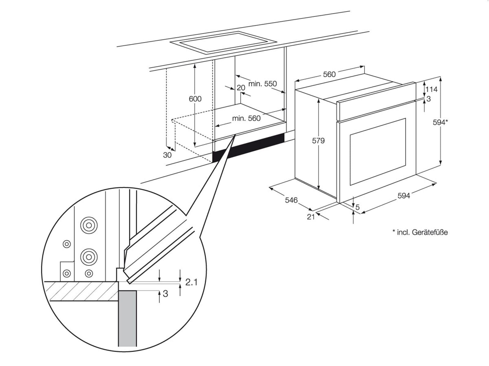 aeg electrolux eon3010aax einbau herd edelstahl f r 278 90. Black Bedroom Furniture Sets. Home Design Ideas