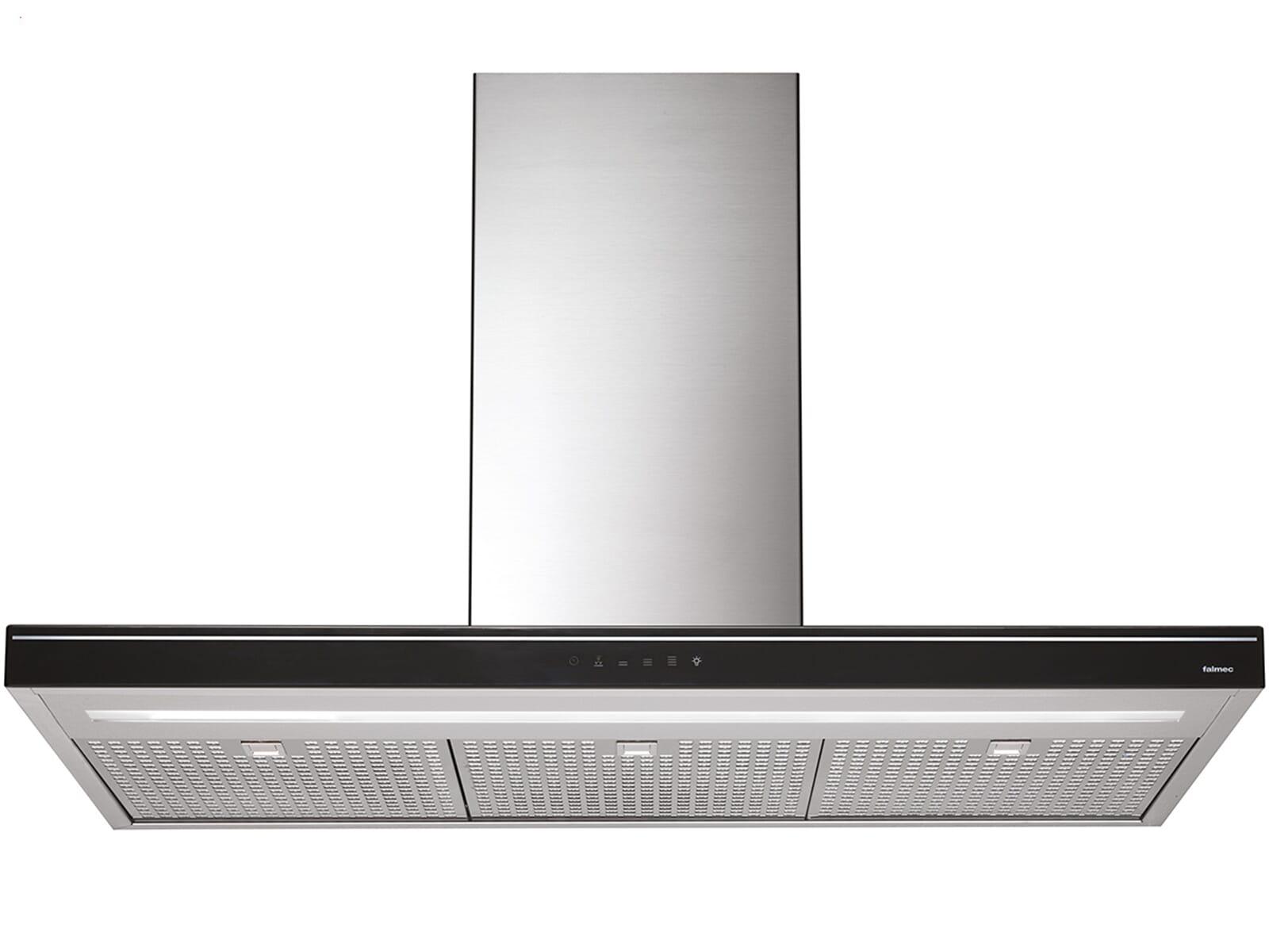 falmec luce insel dunstabzugshaube edelstahl schwarz f r. Black Bedroom Furniture Sets. Home Design Ideas