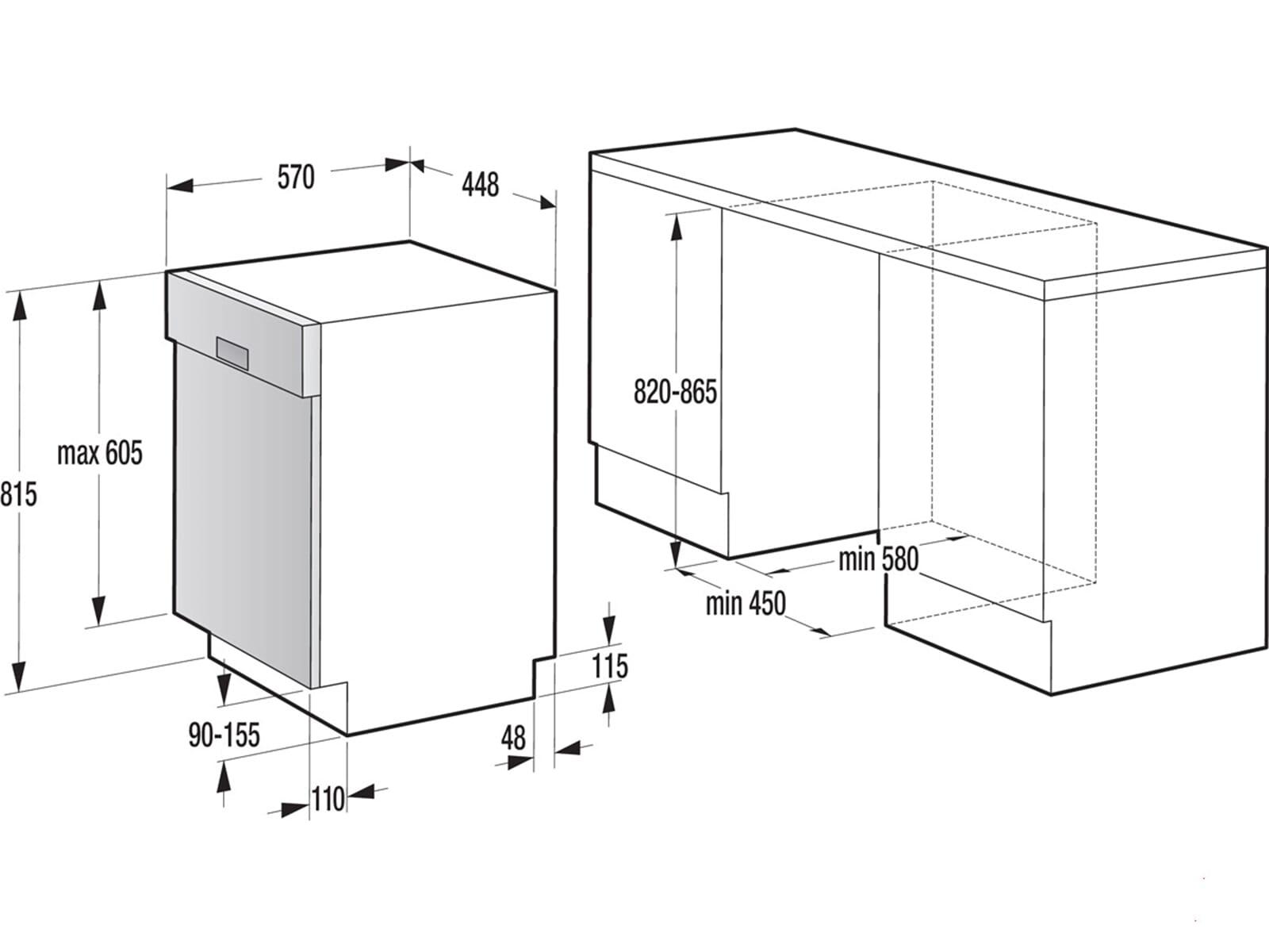 gorenje gi 55110 teilintegrierbarer einbaugeschirrsp ler. Black Bedroom Furniture Sets. Home Design Ideas