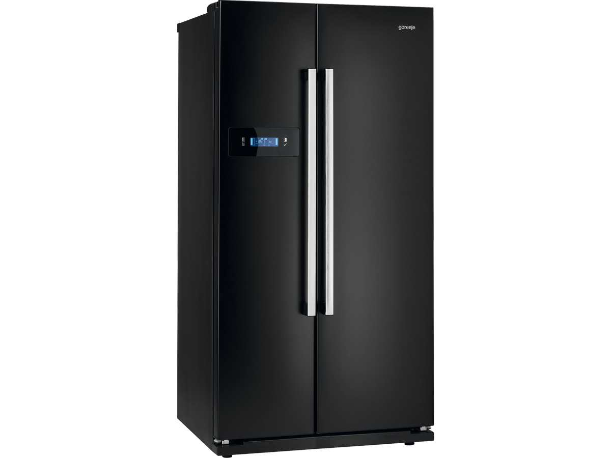 gorenje nrs 85728 bk side by side k hlschrank in schwarz. Black Bedroom Furniture Sets. Home Design Ideas