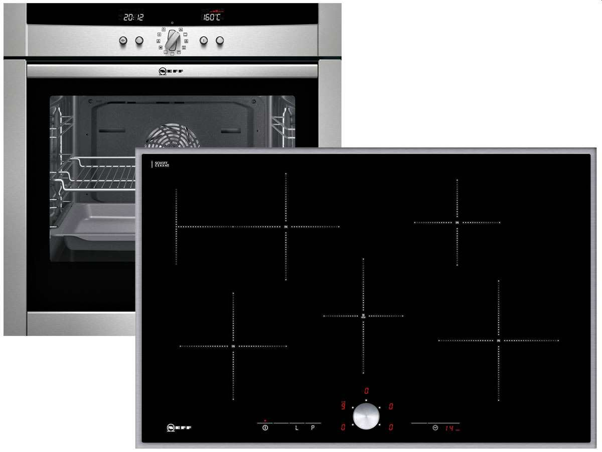 neff set backofen mega she 4542 n induktion glaskeramik kochfeld tt 4384 n ebay. Black Bedroom Furniture Sets. Home Design Ideas