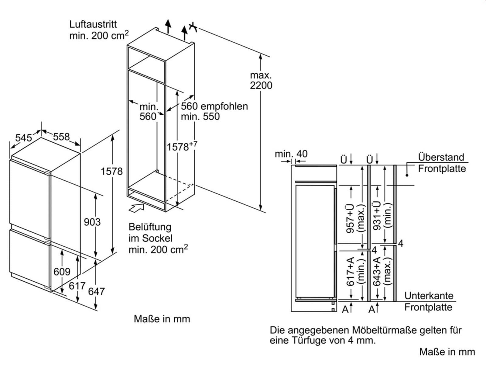 neff kg 635 a2 integrierbar k hl gefrier kombination a. Black Bedroom Furniture Sets. Home Design Ideas