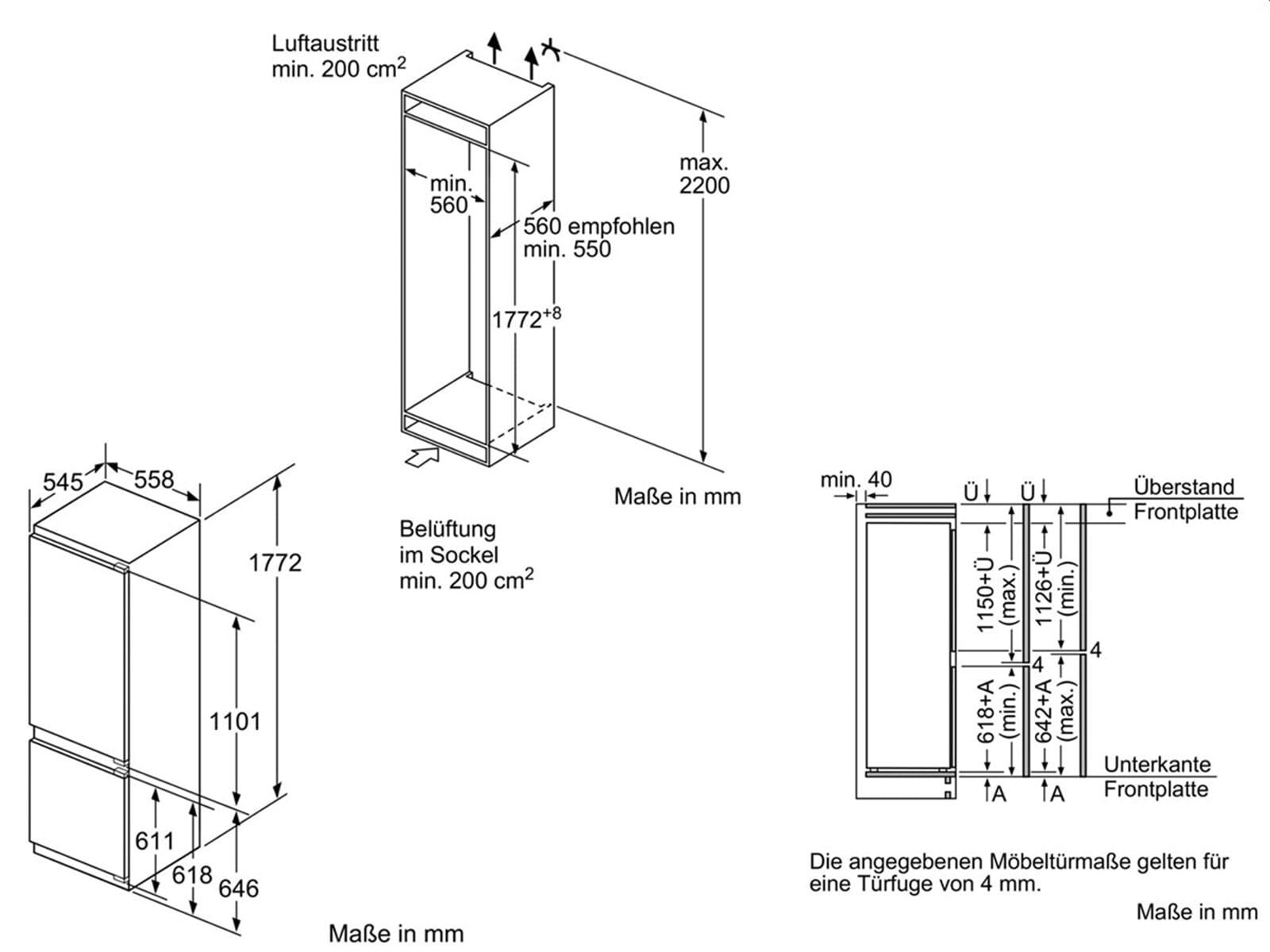 neff kg 836 a3 einbauger t k hl gefrier kombination 178cm k hlschrank ki6873d40 ebay. Black Bedroom Furniture Sets. Home Design Ideas