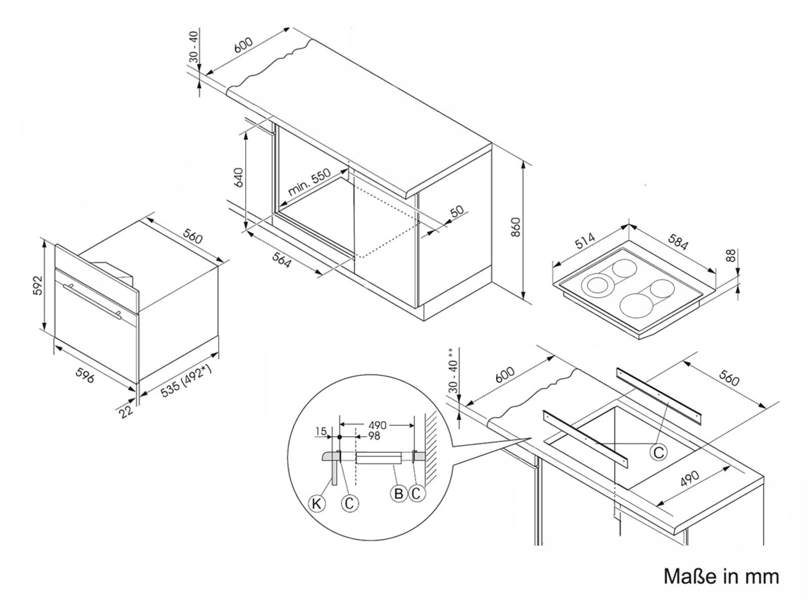 oranier set herd backrohr ehg 3010 gas unter glas. Black Bedroom Furniture Sets. Home Design Ideas