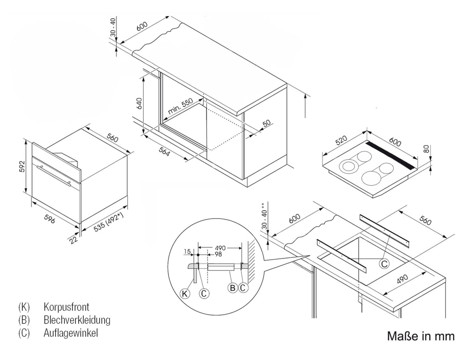 oranier set herd ehg 3010 gas unter glas kochfeld ekg 6 f r 1848 90 eur. Black Bedroom Furniture Sets. Home Design Ideas