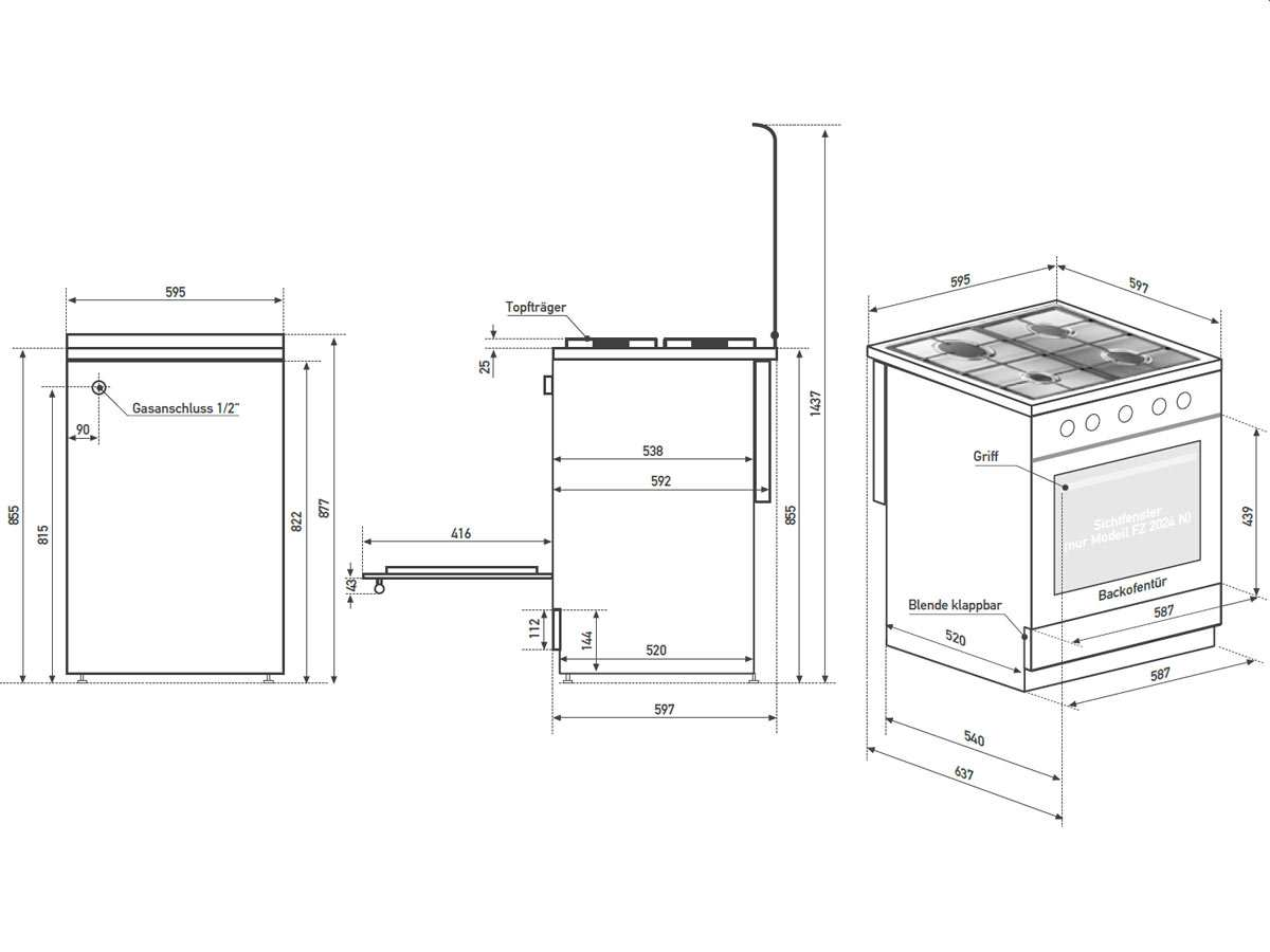 oranier fz 2024 n gas standger t herd wei backr hre freistehend ofen backofen 4029807102805 ebay. Black Bedroom Furniture Sets. Home Design Ideas