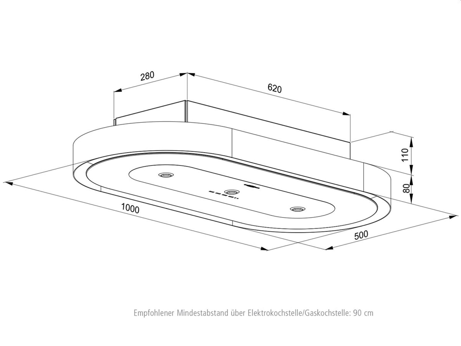 oranier santina 8681 11 deckenhaube wei dunstabzugshaube deckenl fter k che ebay. Black Bedroom Furniture Sets. Home Design Ideas