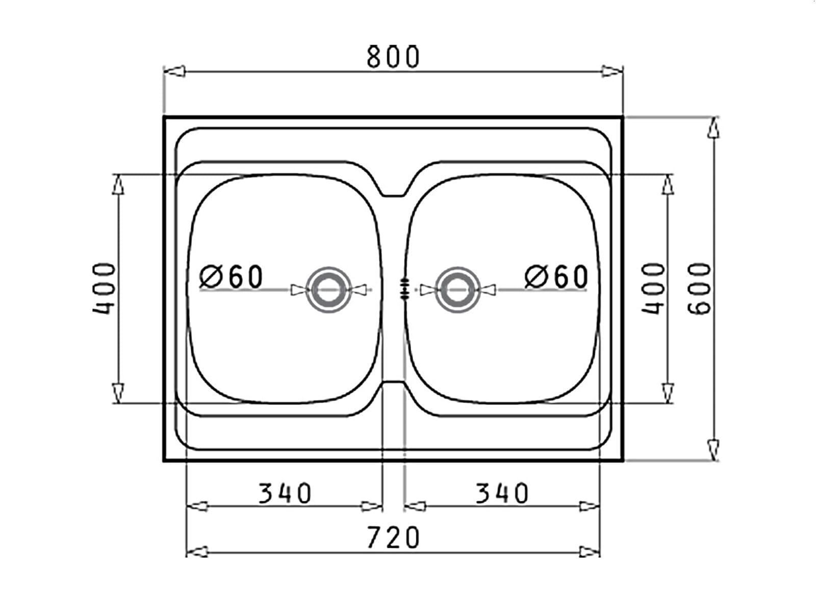 pyramis international 80x60 2b edelstahl sp le glatt 80 us auflagesp le ebay. Black Bedroom Furniture Sets. Home Design Ideas