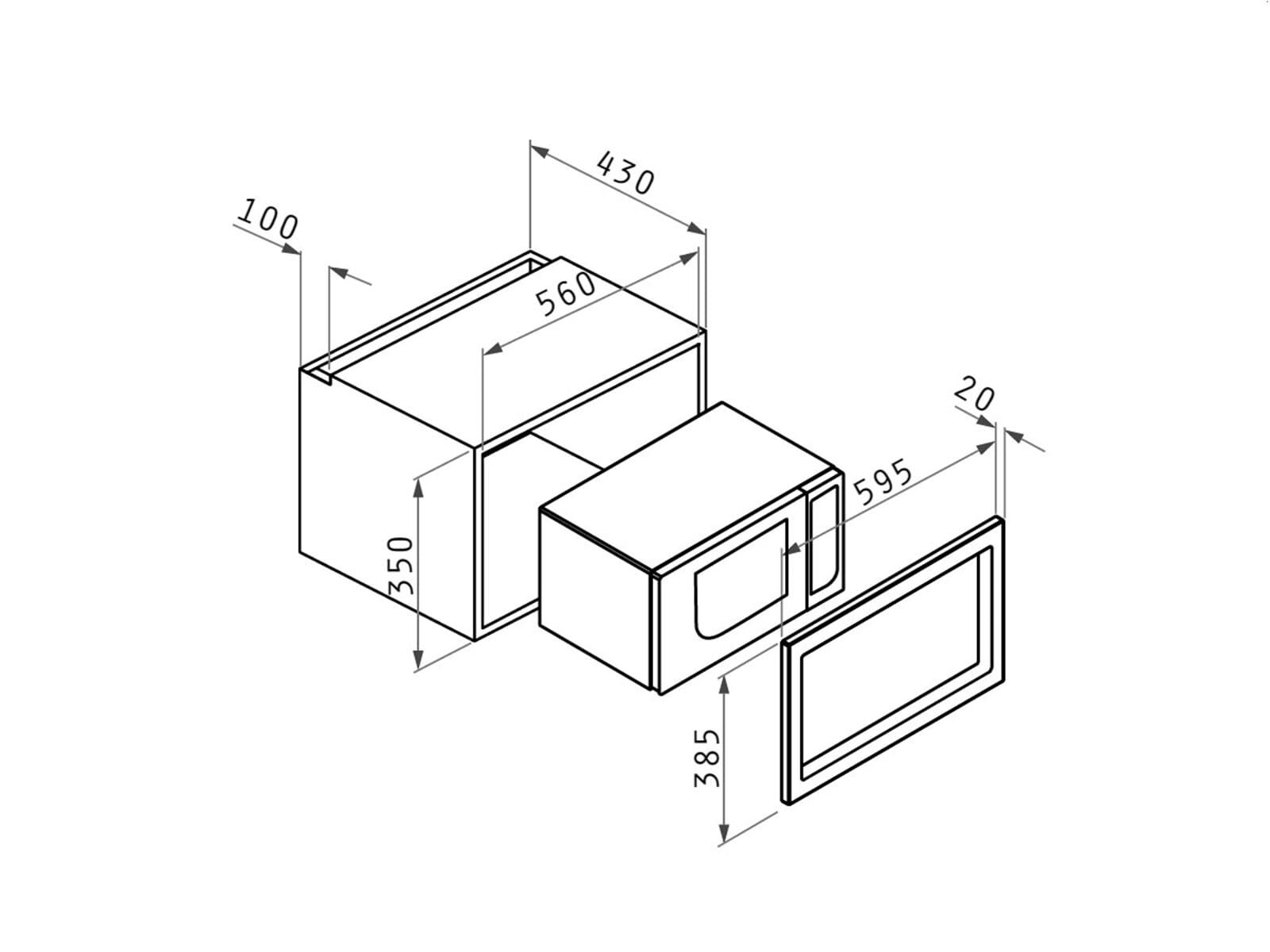 Pyramis Einbau Mikrowelle mit Grill Edelstahl