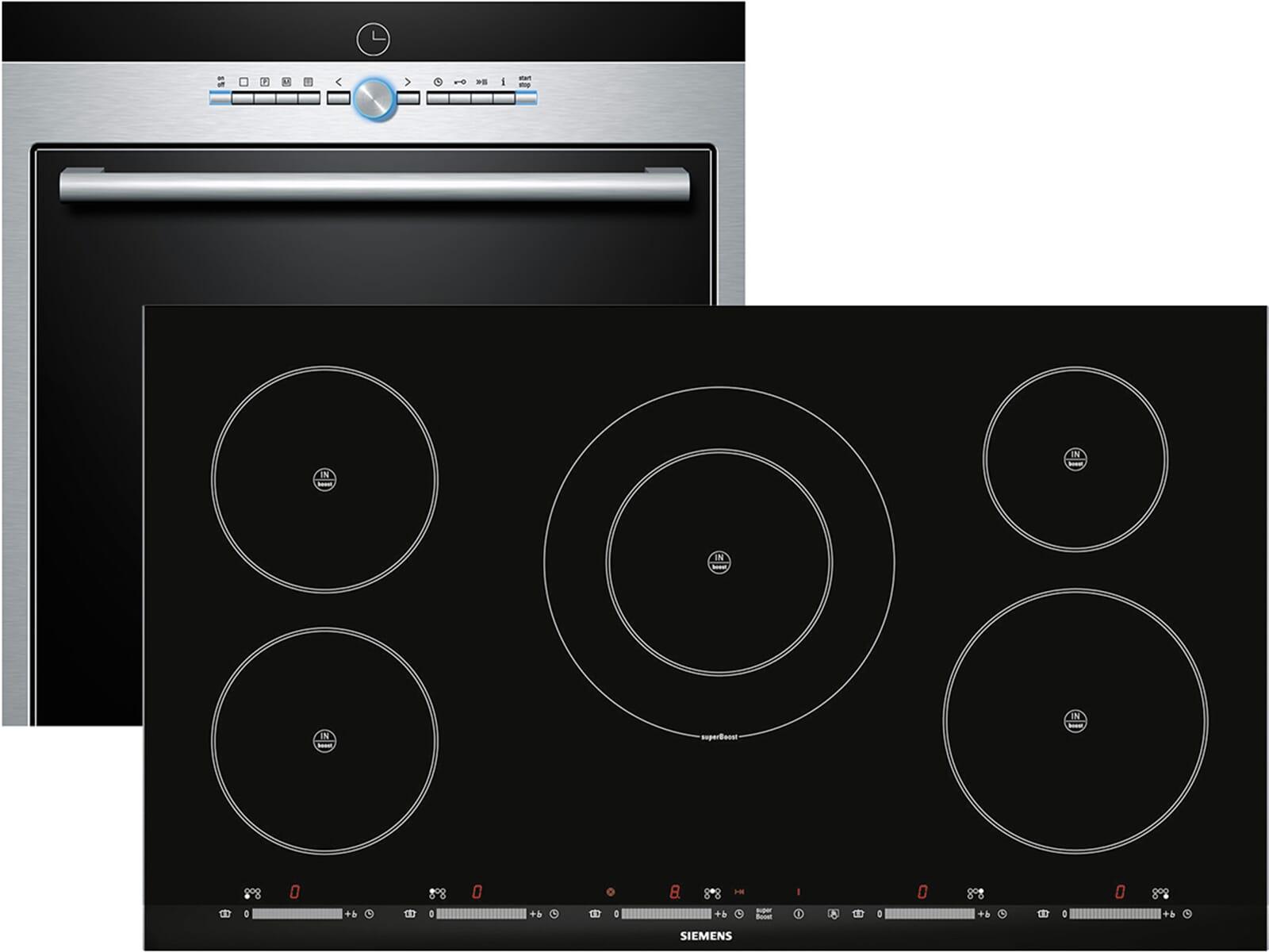 Siemens EQ2Z046 Set Pyrolyse Backofen HB78GB570 + Induktion Glaskeramik Kochfeld EH975SK11E, EEK: A