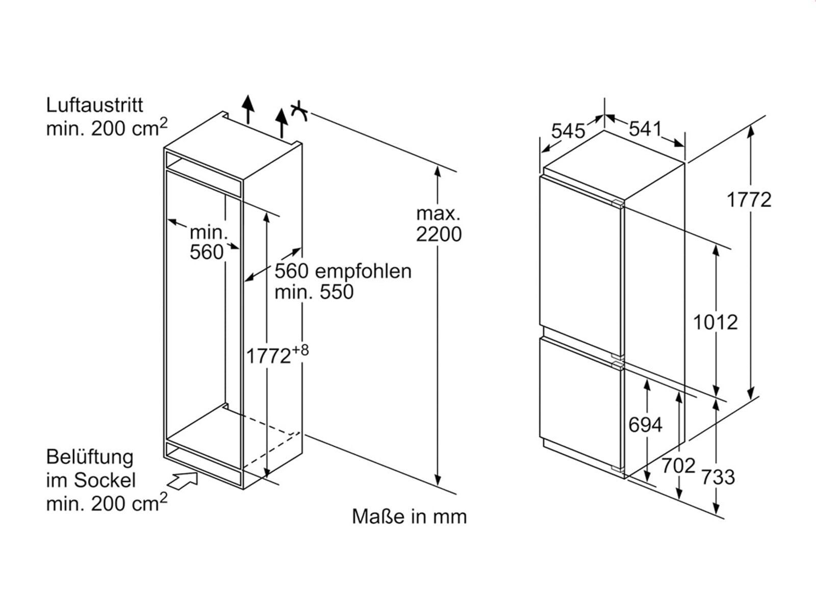 siemens ki86vvf30 einbau k hl gefrierkombination k hlger t. Black Bedroom Furniture Sets. Home Design Ideas