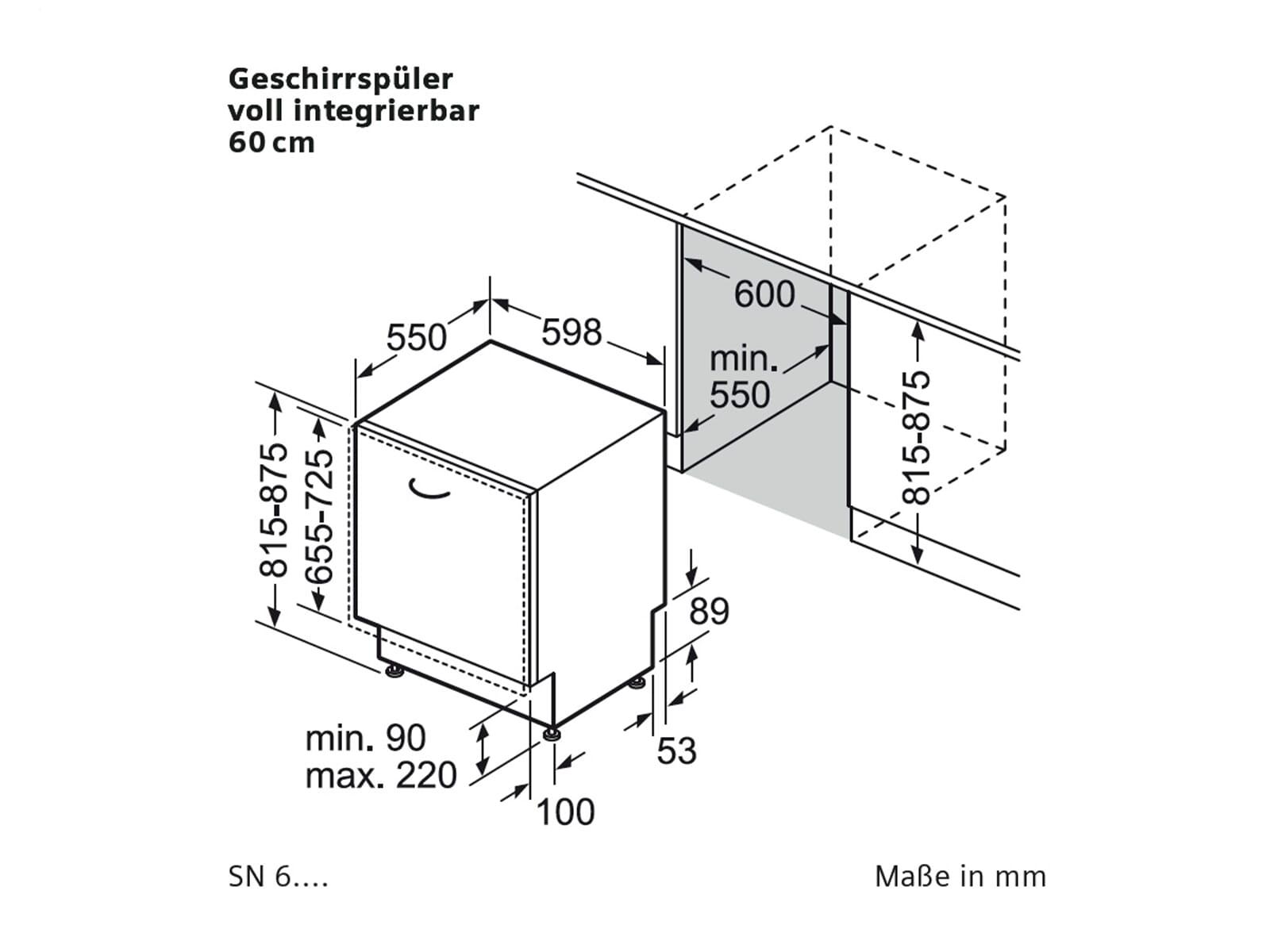 siemens sn65e009eu vollintegrierbarer einbau geschirrsp ler a sp lmaschine 10l ebay. Black Bedroom Furniture Sets. Home Design Ideas