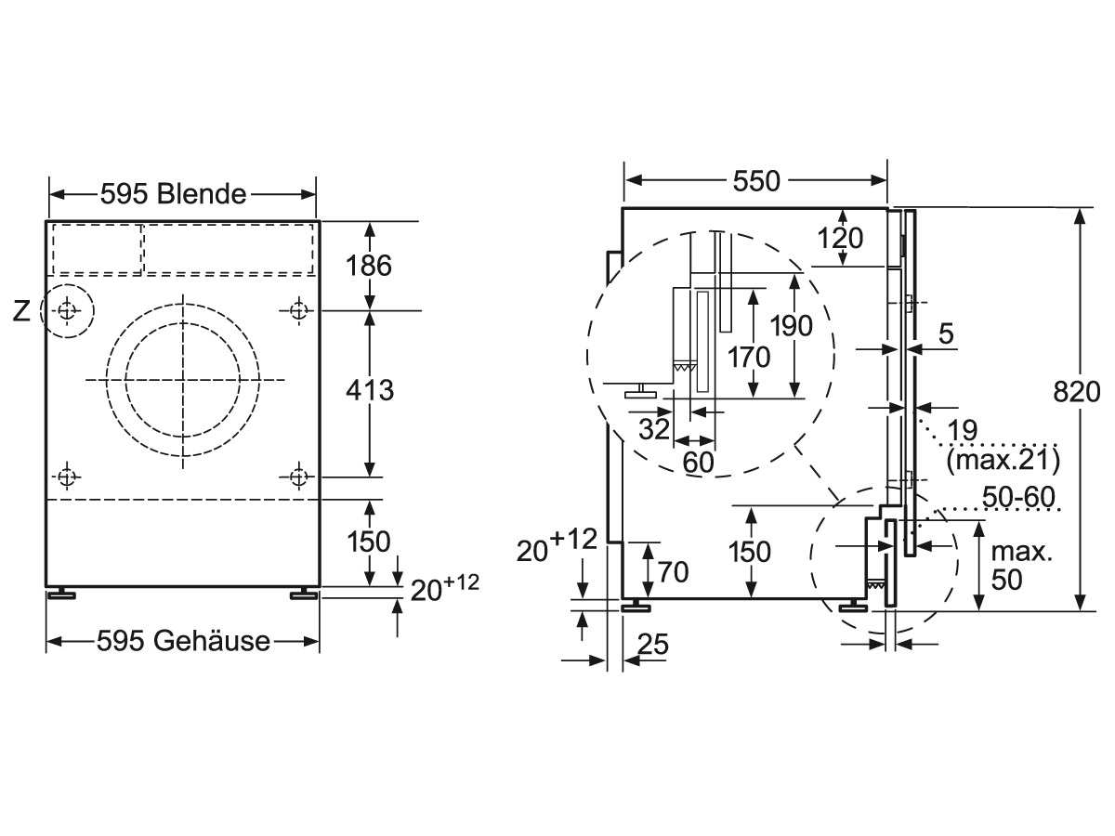 waschmaschine ma e m bel design idee f r sie. Black Bedroom Furniture Sets. Home Design Ideas