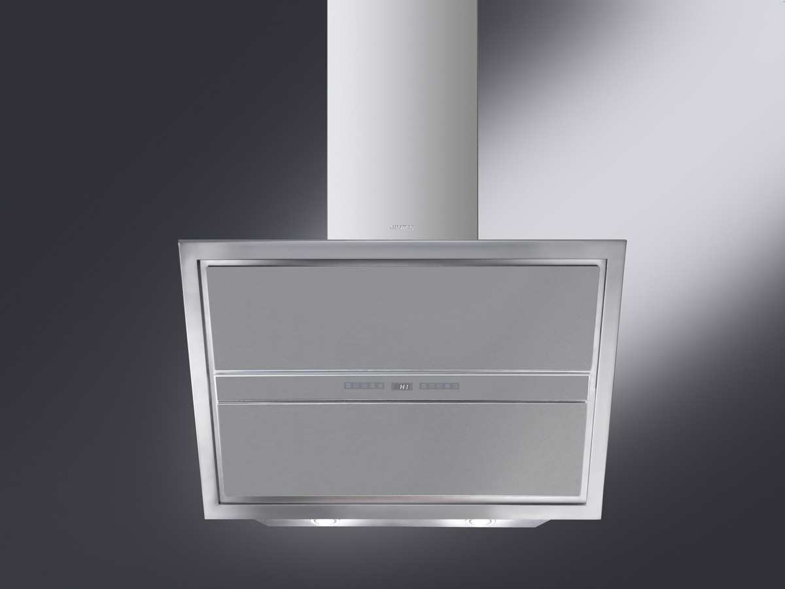 smeg kcvb9sg kopffrei wand dunstabzugshaube silber f r. Black Bedroom Furniture Sets. Home Design Ideas