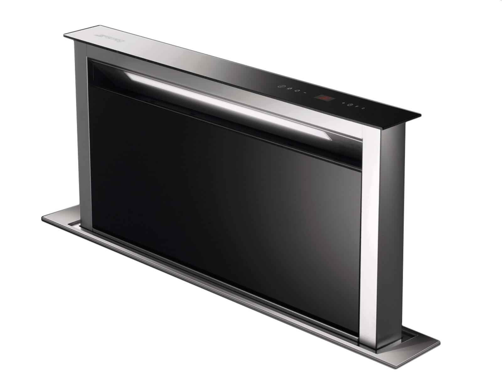 smeg kdd90vxe tisch dunstabzugshaube schwarz muldenl fter. Black Bedroom Furniture Sets. Home Design Ideas
