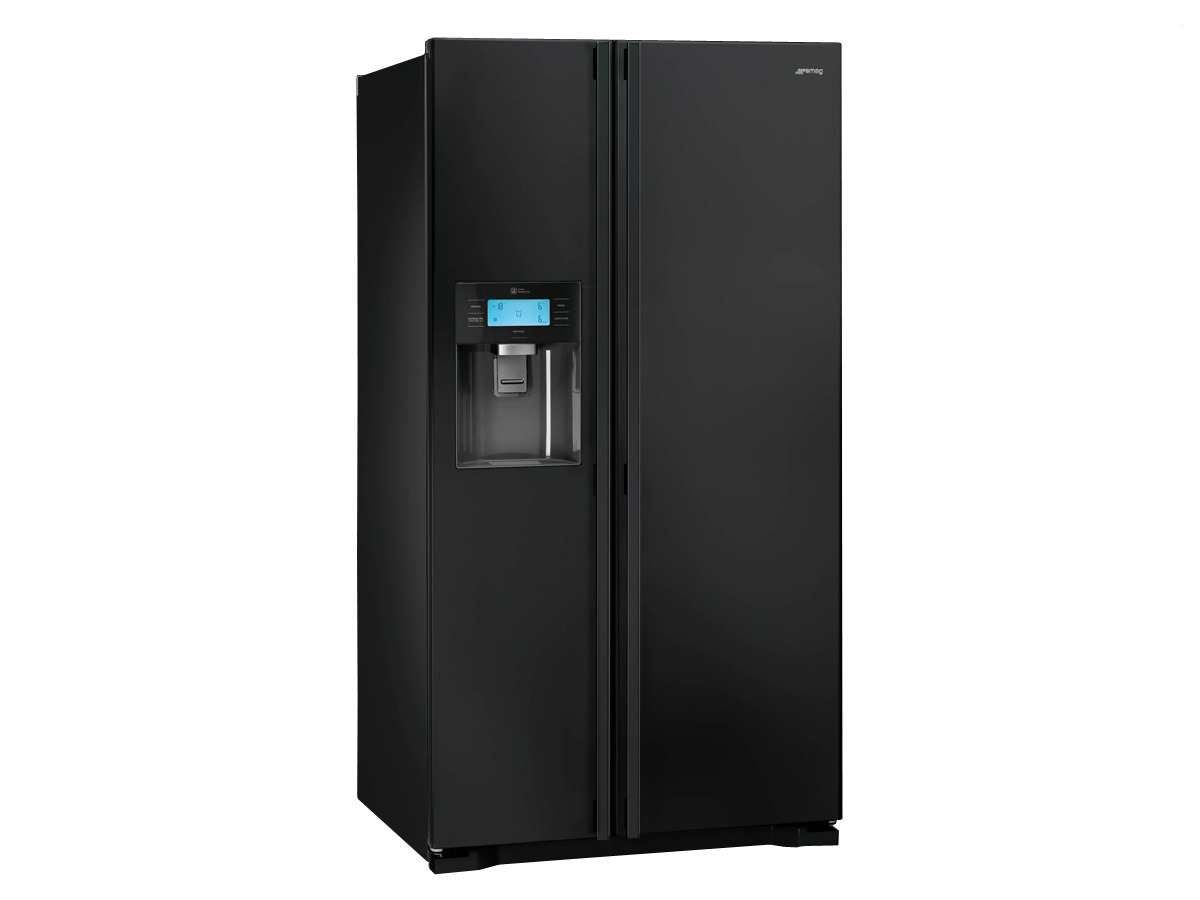 smeg ss55pnl3 side by side k hl gefrier kombination schwarz ebay. Black Bedroom Furniture Sets. Home Design Ideas