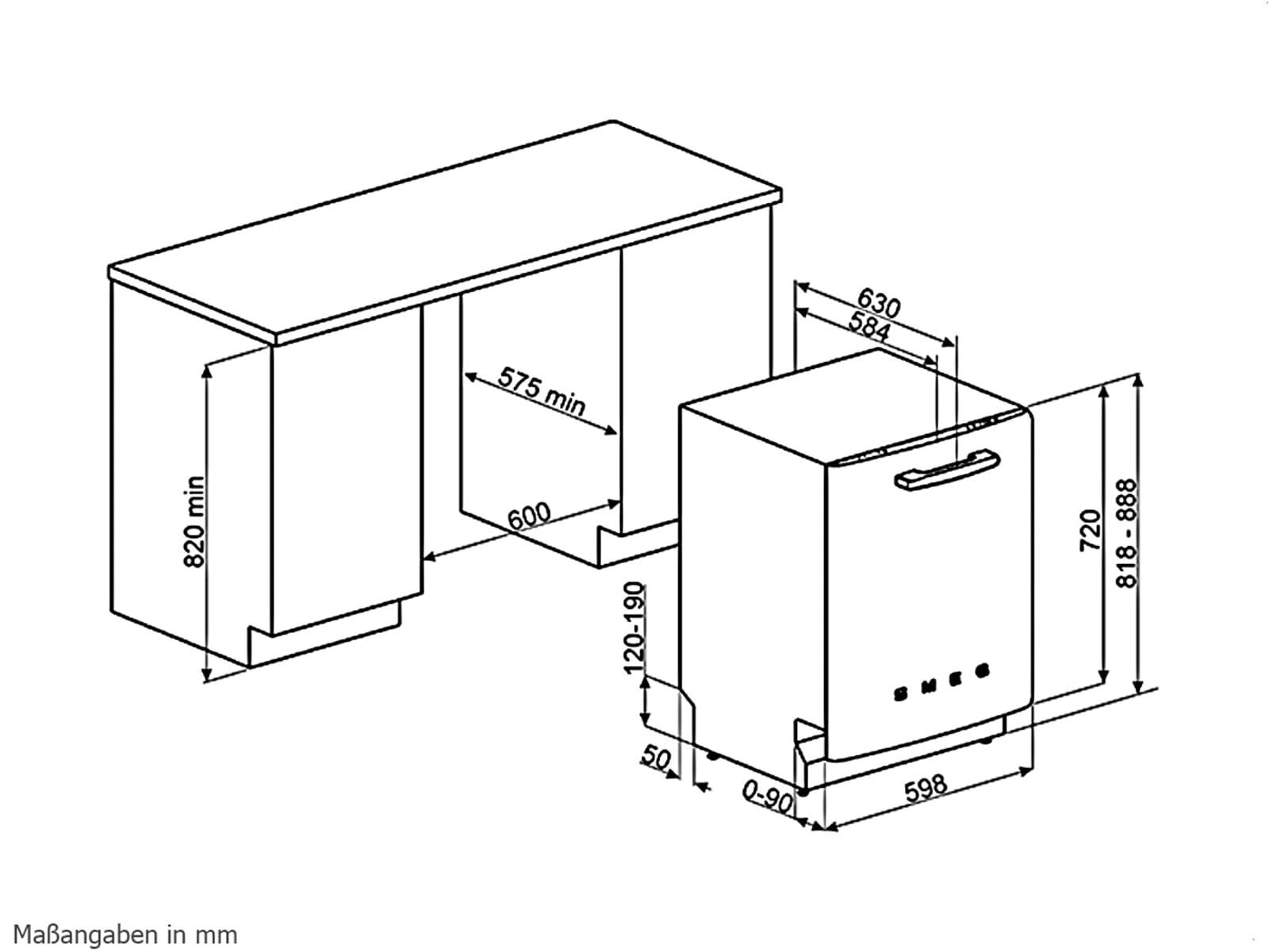 smeg st2fabne2 unterbau geschirrsp ler schwarz ebay. Black Bedroom Furniture Sets. Home Design Ideas