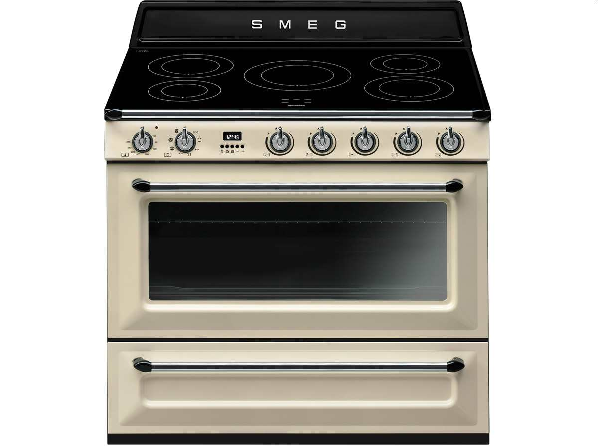 smeg tr90ip induktion standherd creme beige kochstelle backofen 90cm elektroherd ebay. Black Bedroom Furniture Sets. Home Design Ideas