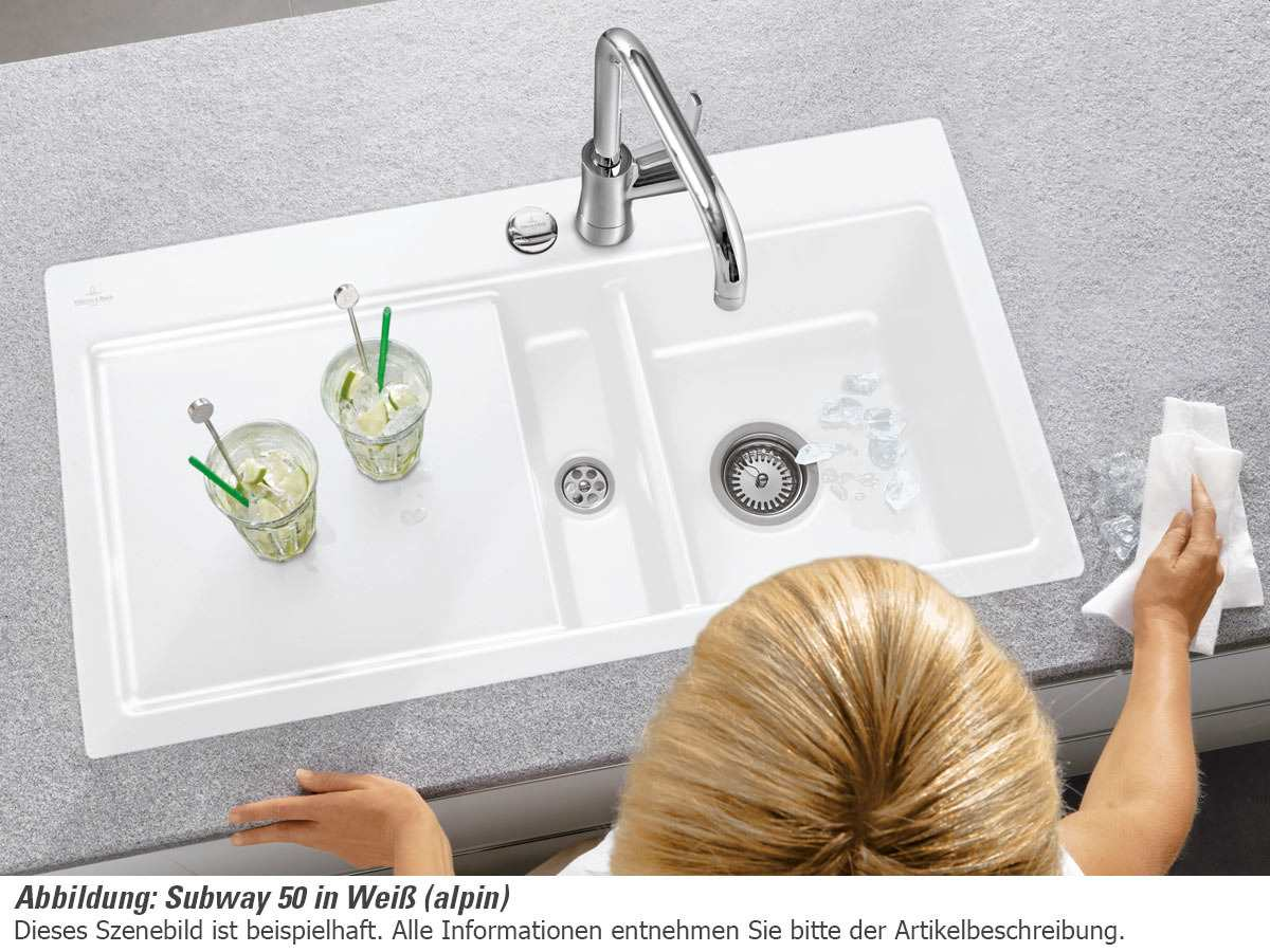 villeroy boch subway 50 white pearl keramik sp lbecken muster wei sp le k che. Black Bedroom Furniture Sets. Home Design Ideas