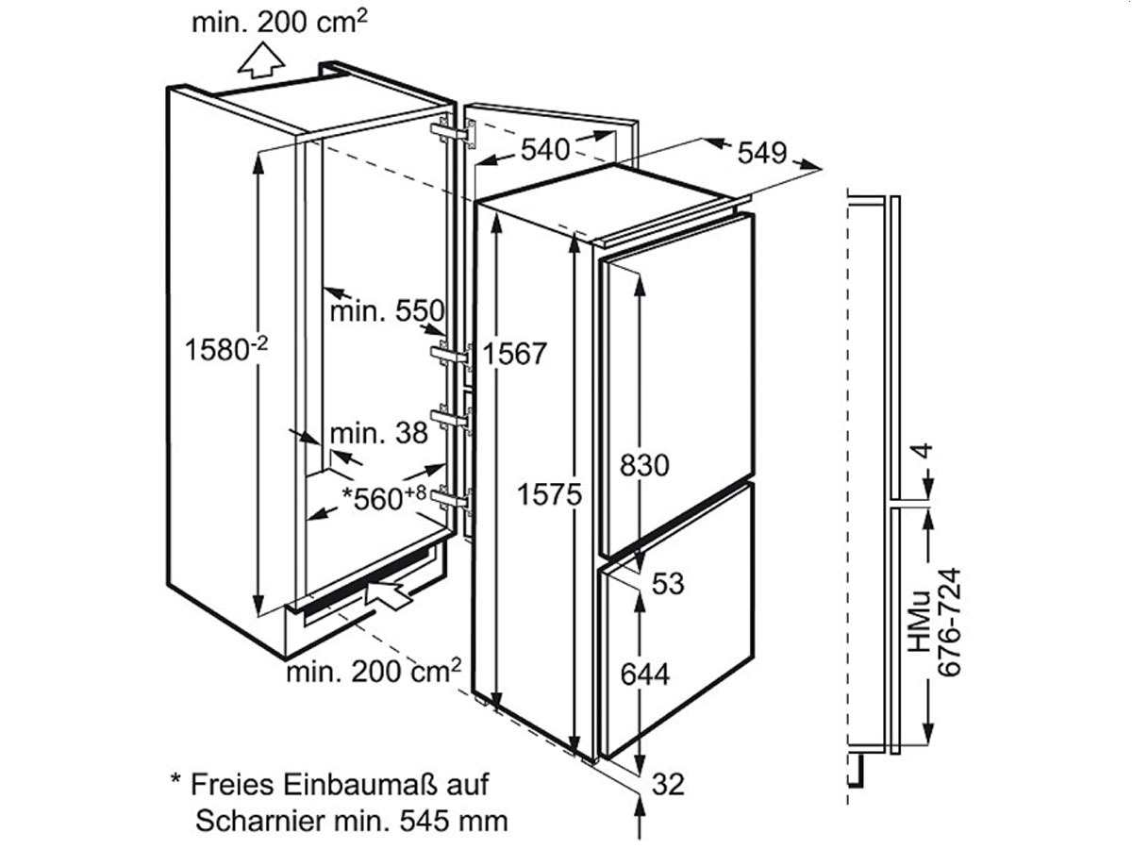 zanussi zbb25431sa einbau k hl gefrier kombination k hlger t k hlkombi 158cm a ebay. Black Bedroom Furniture Sets. Home Design Ideas