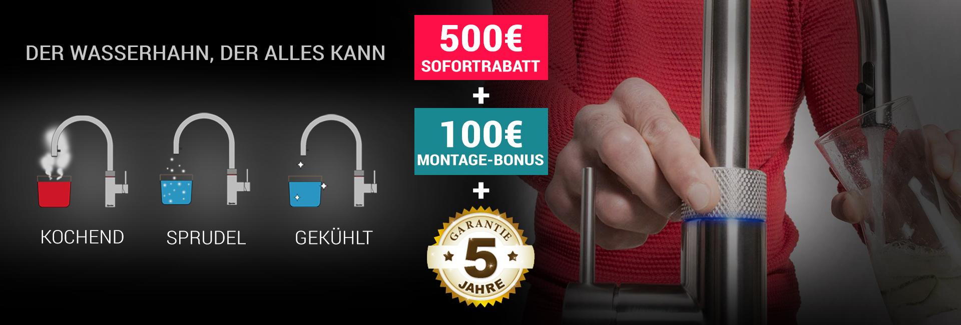Quooker Deals - 500€ Sofortrabatt + 100€ Montagebonus + 5 Jahre Garantie