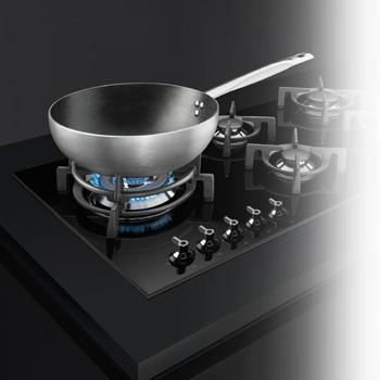 smeg gaskochfeld schwarz mit wok in desinlinie classici