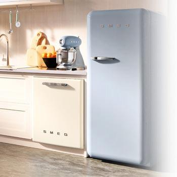 smeg retro kühlschrank blau