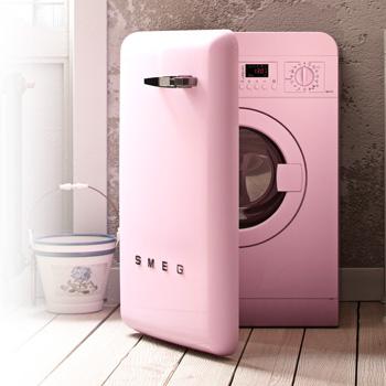 smeg waschmaschine cadillac pink im 50er jahre stil