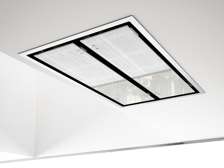 Deckenhaube weiß schwarzer Rahmen eingebaut & beleuchtet