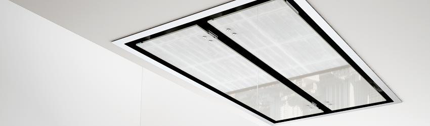 Deckenhaube schwarz Edelstahl Glas
