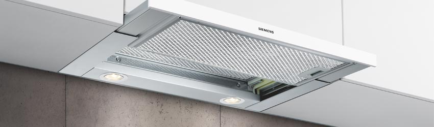 Flachschirmhaube Siemens Edelstahl herausgezogen