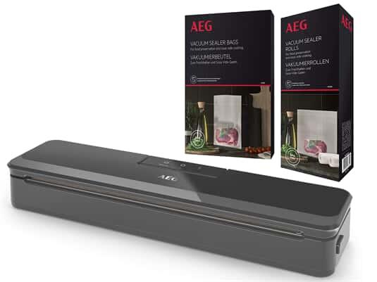 Produktabbildung AEG Vakuumierset - Vakuumiergerät VS4-1-4AG + 60 Vakuumierbeutel AVSB1 + 2 Vakuumierrollen AVSR1