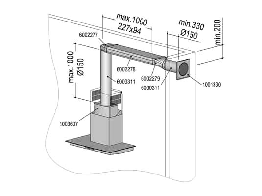 Berbel 1004733 Abluft-Set ECO II  - Flach 150