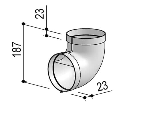 Produktabbildung Berbel Rundrohr System 125 - 90°-Bogen