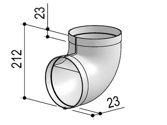 Produktabbildung Berbel Rundrohr System 150 - 90°-Bogen