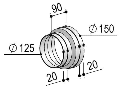 Produktabbildung Berbel Rundrohr System 150 - Reduzierstück